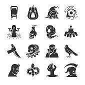 Halloween icon set. Included the icons as vampire, pumpkin, black cat, death, demon, evil and more.