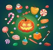 Halloween icon set, Pumpkin & sweets, Cartoon character, Vector Illustration