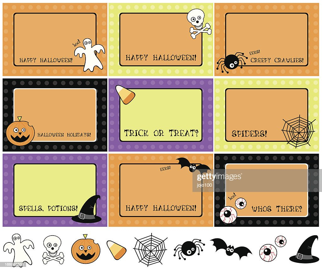halloween icons and invite labels vector art getty images