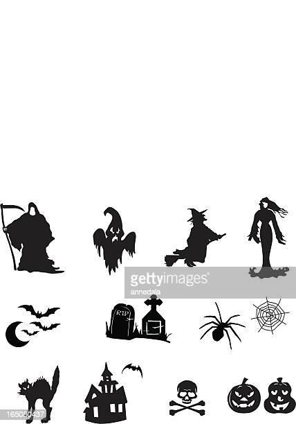 ilustraciones, imágenes clip art, dibujos animados e iconos de stock de halloween iconos y símbolos - la muerte