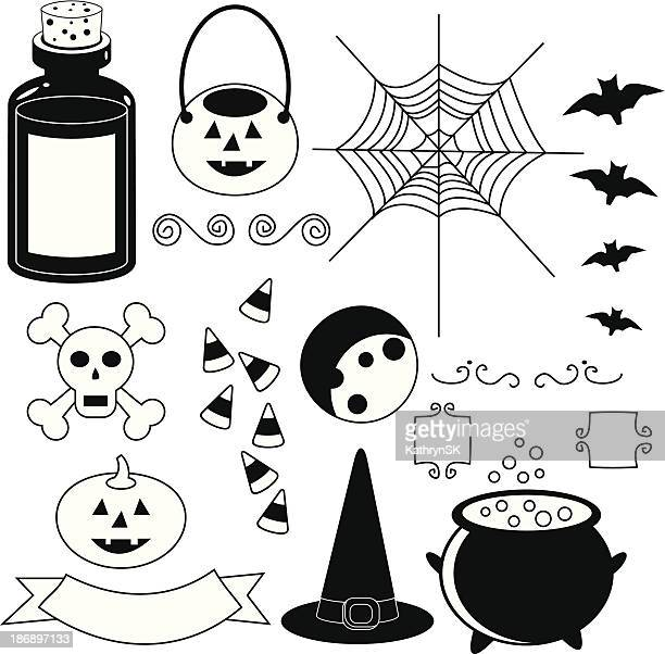 Halloween Icons, Black and White