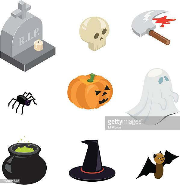 halloween icons | iso collection - spider stock illustrations