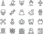 Halloween Icons,  Monoline concept