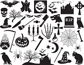 Halloween icons set (vector horror elements)