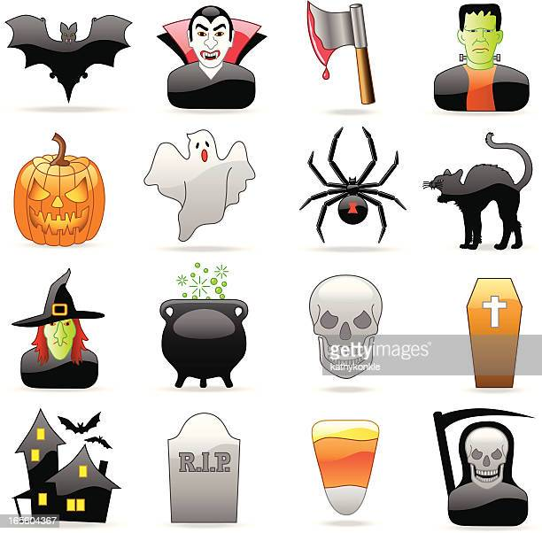 halloween icons - black widow spider stock illustrations, clip art, cartoons, & icons