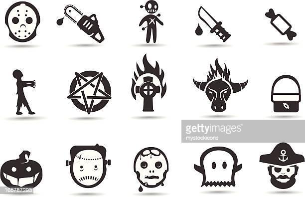 illustrations, cliparts, dessins animés et icônes de icônes d'halloween - horreur