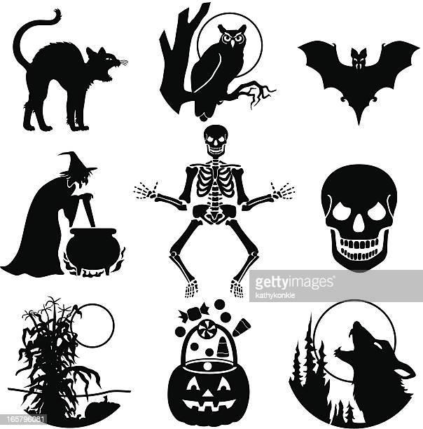 halloween icons - halloween cats stock illustrations