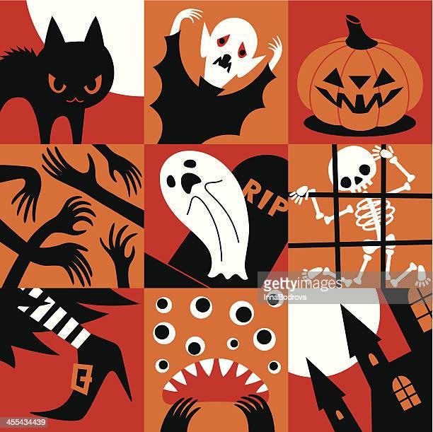 halloween icons. - pumpkin cats stock illustrations