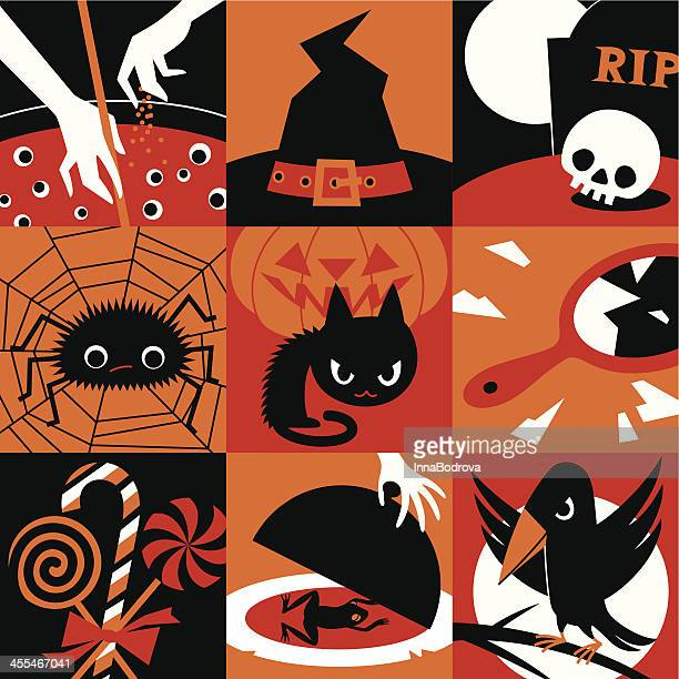 halloween icons. - cauldron stock illustrations, clip art, cartoons, & icons