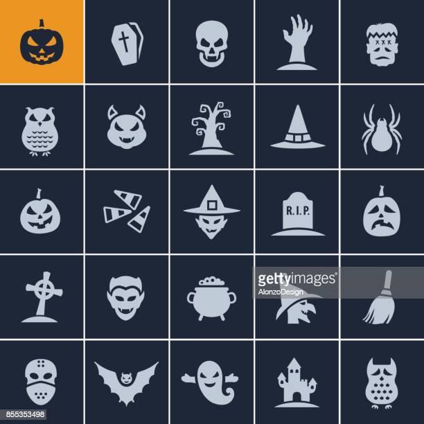 halloween icons - cauldron stock illustrations, clip art, cartoons, & icons