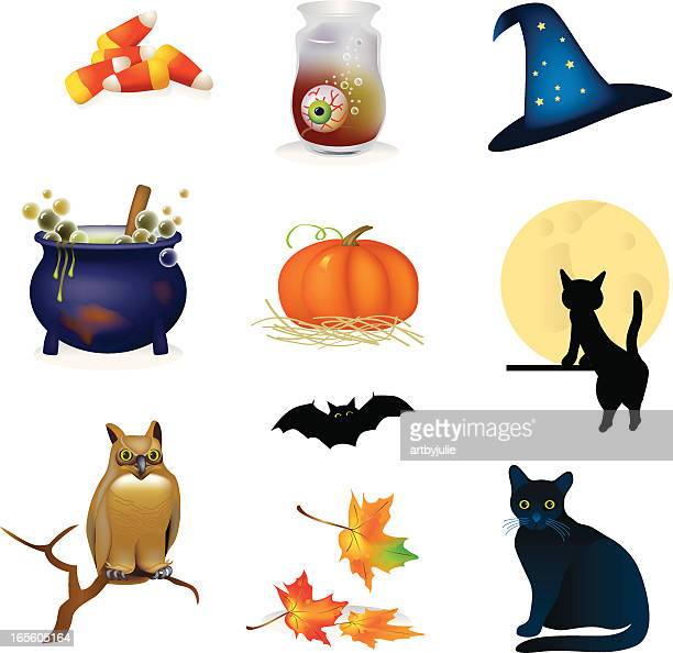 halloween illustration collection - magical equipment stock illustrations, clip art, cartoons, & icons