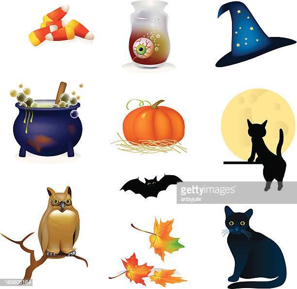 halloween illustration collection - cauldron stock illustrations, clip art, cartoons, & icons