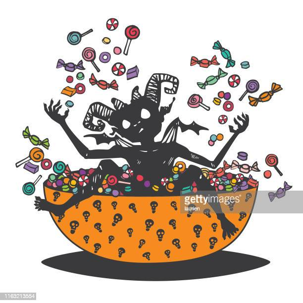 halloween imp playing in the candy bowl - naughty america stock illustrations, clip art, cartoons, & icons