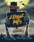 Halloween invitation poster - signboard in hands of zombies