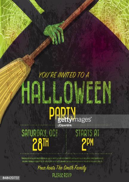 halloween invitation template design - broom stock illustrations, clip art, cartoons, & icons