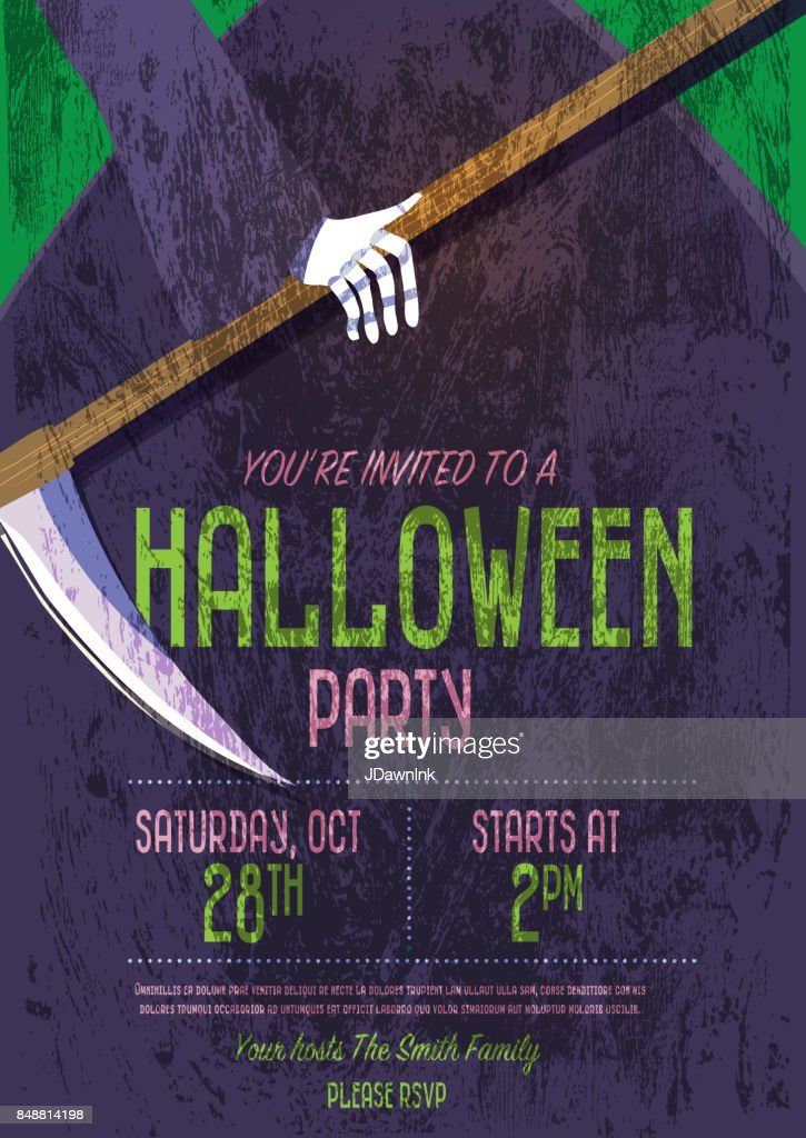 halloween invitation template design vector art getty images