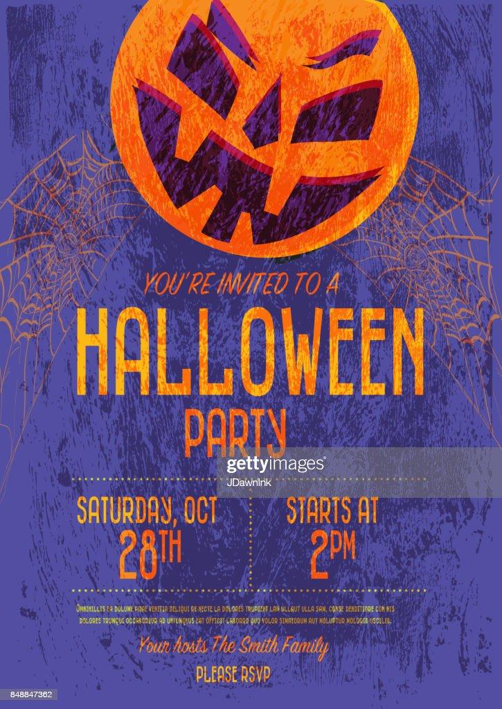 halloween invitation template design vector art getty images