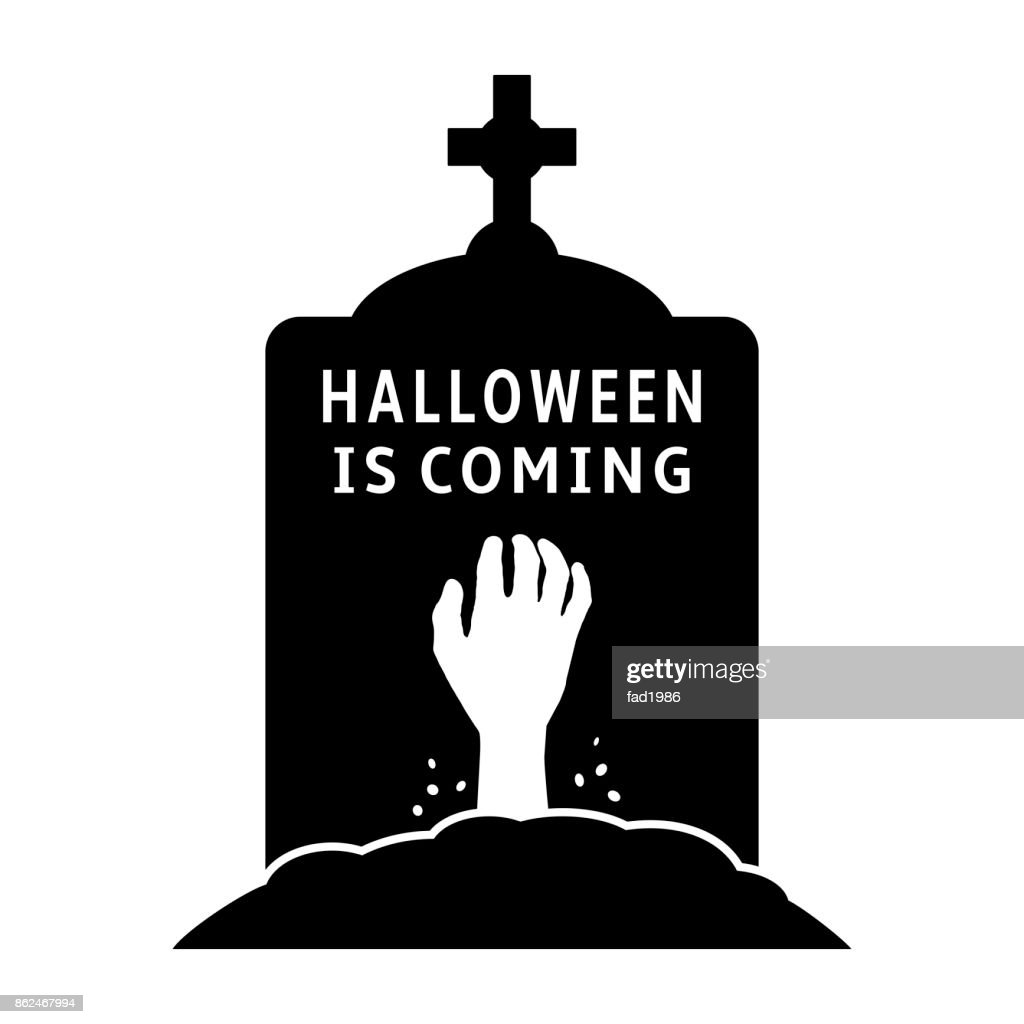 Halloween is coming concept. Gravestone icon with zombie hand.