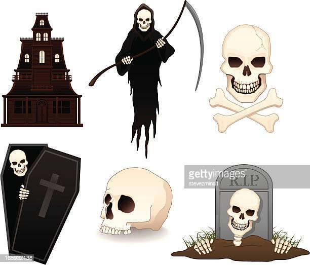 halloween items - grave stock illustrations, clip art, cartoons, & icons