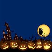 Halloween Jack O' lanterns pumpkin night illustration