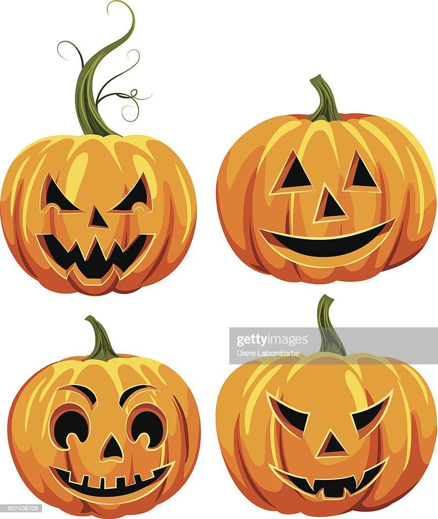 Halloween Jackolantern Face Set High-Res Vector Graphic ...