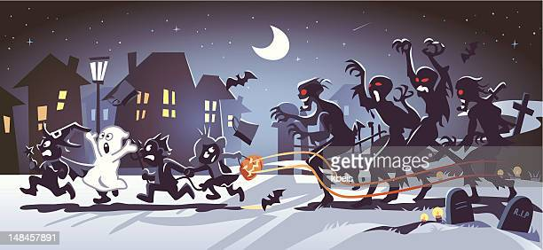 Halloween Kids Chased by Zombies