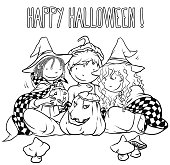Halloween Kids, Coloring Book Page, Vector Illustration.