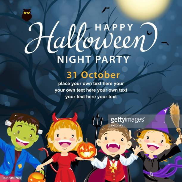 halloween kids costume party - period costume stock illustrations