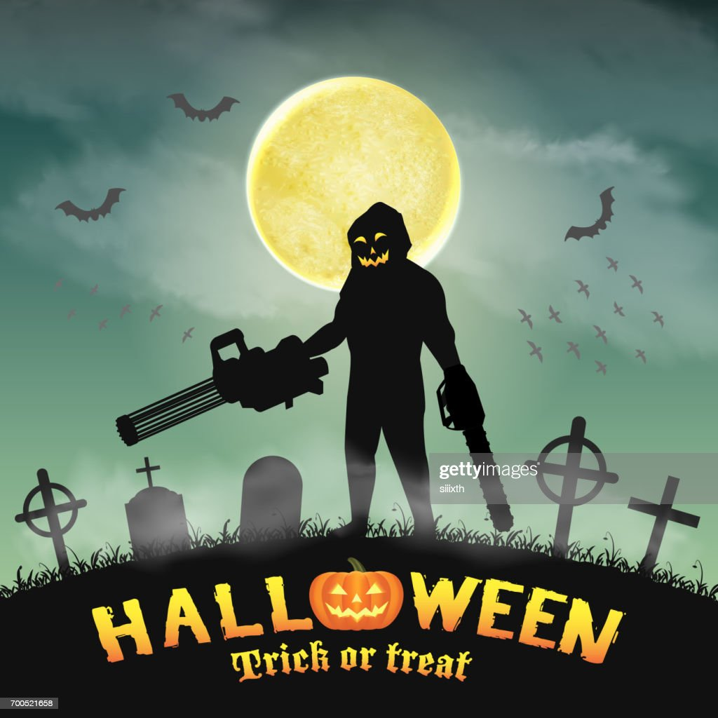 halloween killer with gatling gun and chainsaw
