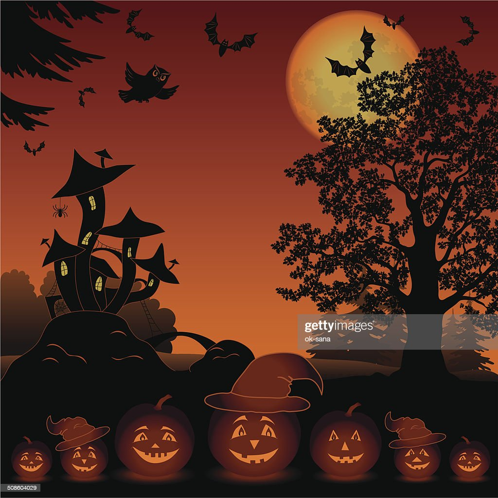 Halloween landscape with pumpkins Jack-o-lantern : Vector Art