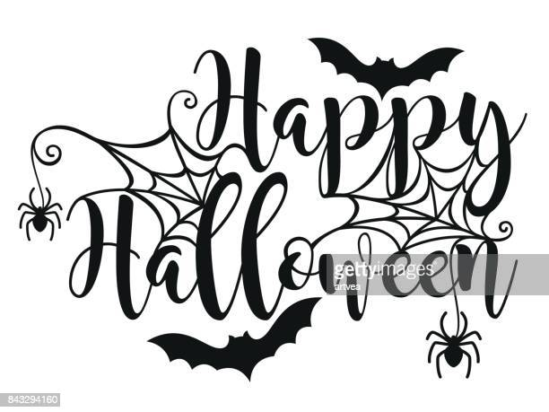 halloween lettering poster. - spider stock illustrations