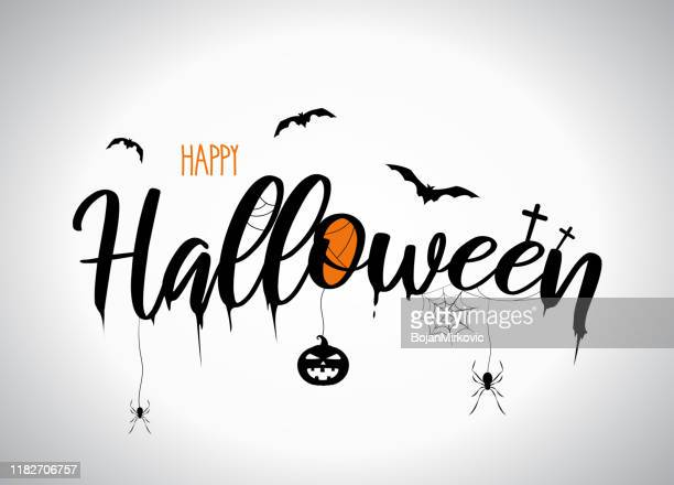 halloween lettering with flying bats, pumpkin, spider. vector - mammal stock illustrations