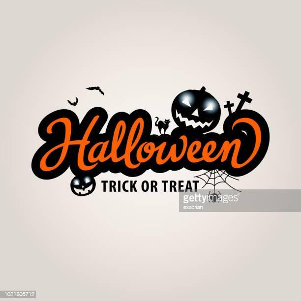 halloween lettering with pumpkins - halloween cats stock illustrations