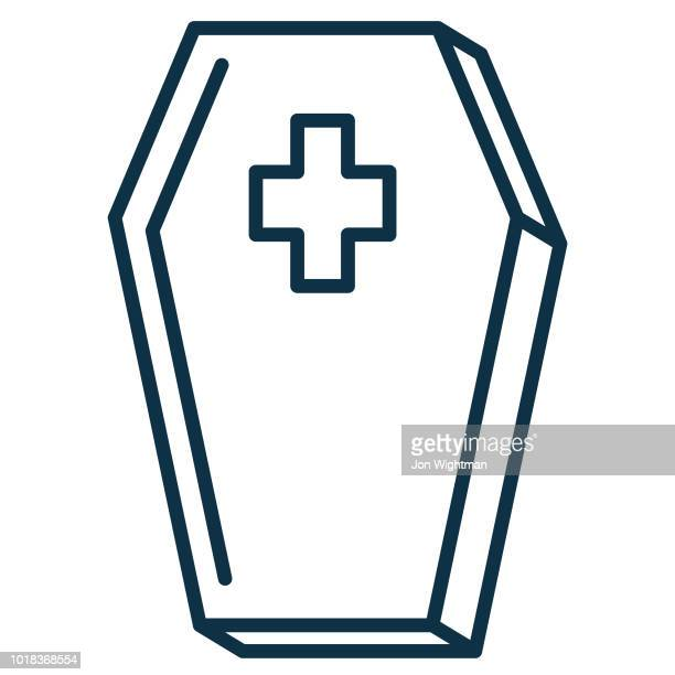 Halloween Line Icon - Coffin