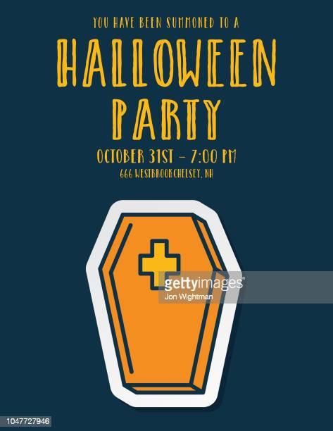 Halloween Line Icon Party Invitations