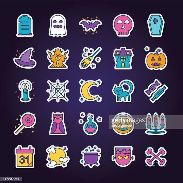 halloween line icon set - potion stock illustrations