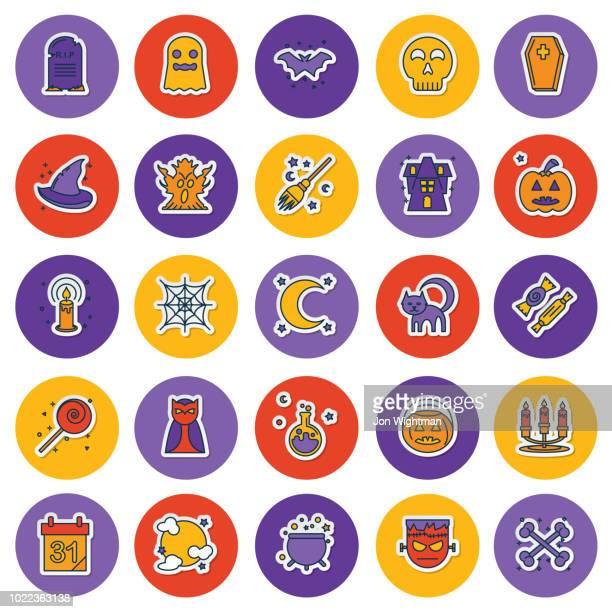 Halloween Line Icon Sticker Set