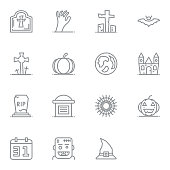 Halloween Linear Icon. Set of thin line icons pictogram.