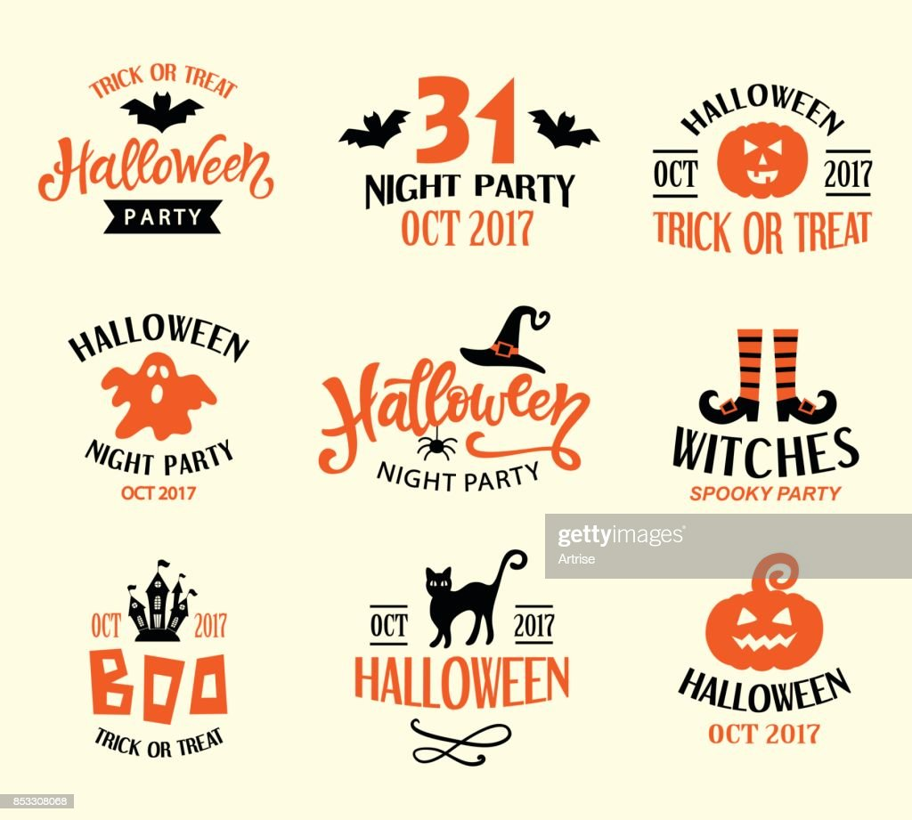 Halloween Logo Templates, Badges Set. Handwritten Ink Lettering and Hand Drawn Cartoon Doodles