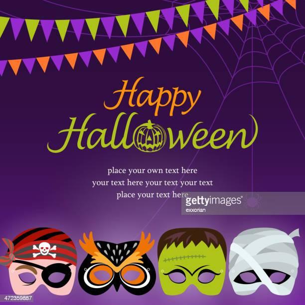 halloween masquerade night - top knot stock illustrations, clip art, cartoons, & icons