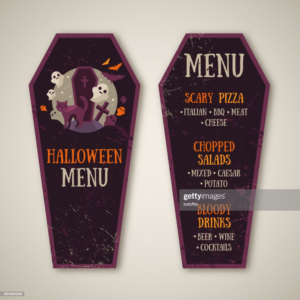 Halloween Menu Design in Coffin Shape