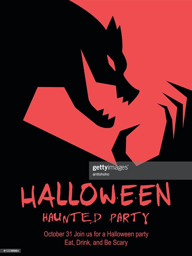 Halloween minimal poster: Werewolf design.