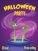 Halloween, Monster hands & eyes. Halloween party. Halloween poster card