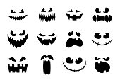 Halloween monster jack lantern pumpkin carved glowing scary face set on white background. Holiday cartoon character collection for celebration design. Vector spooky illustration