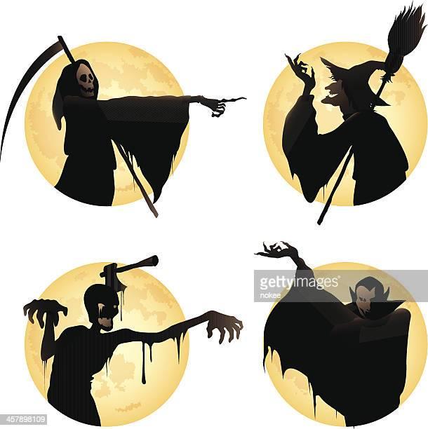 halloween monster set - vampire stock illustrations, clip art, cartoons, & icons