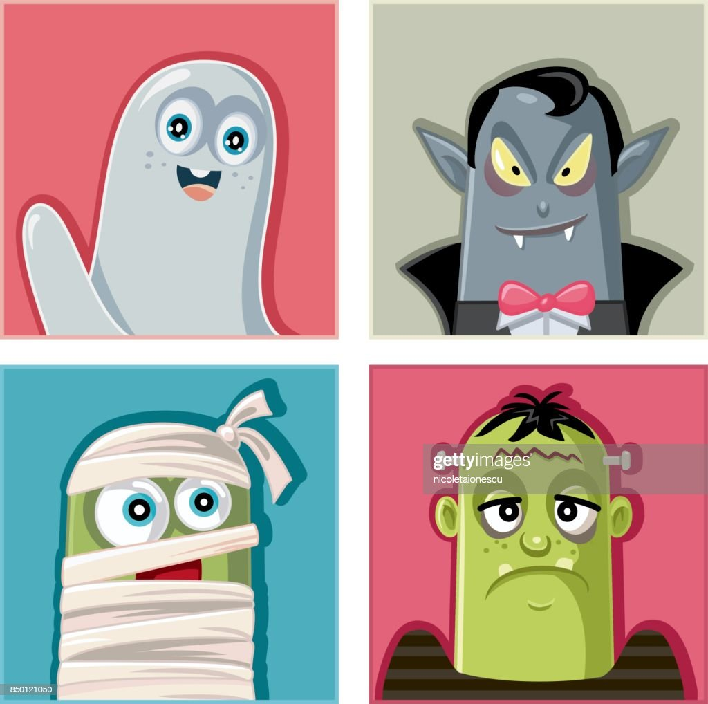 Halloween Monsters Characters Vector Illustration Set