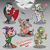 Halloween monsters characters with candies