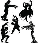 Halloween Monsters Frankenstein, Dracula, Werewolf, Mummy, Mad Scientist