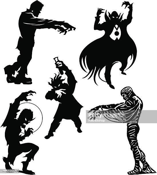 ilustrações de stock, clip art, desenhos animados e ícones de dia das bruxas monstros frankenstein, dracula, lobisomem, múmia, cientista louco - lobisomem
