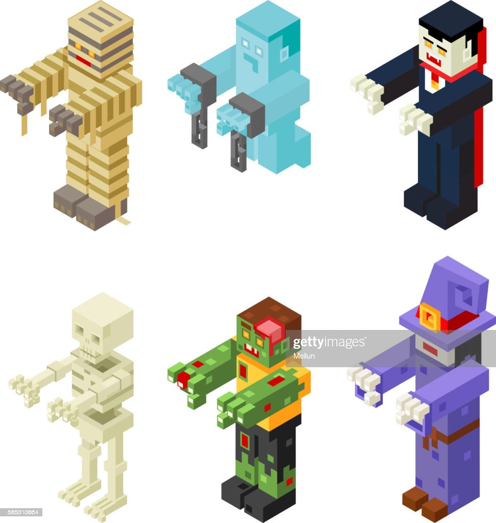 Halloween Monsters Icons Set Flat Design Isometric 3d Vector Illustration